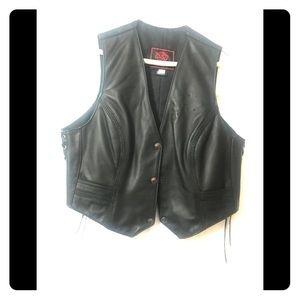 Leather Vest With Harley Davidson Emblem on Back